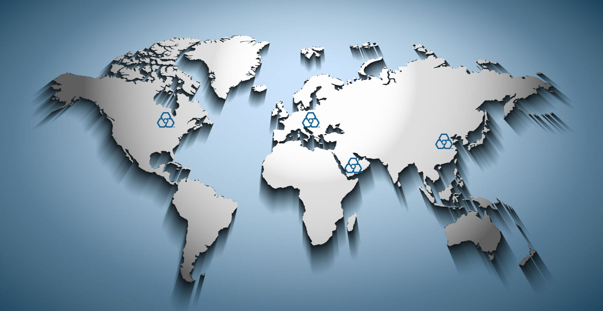 World map embossed over blue gradient