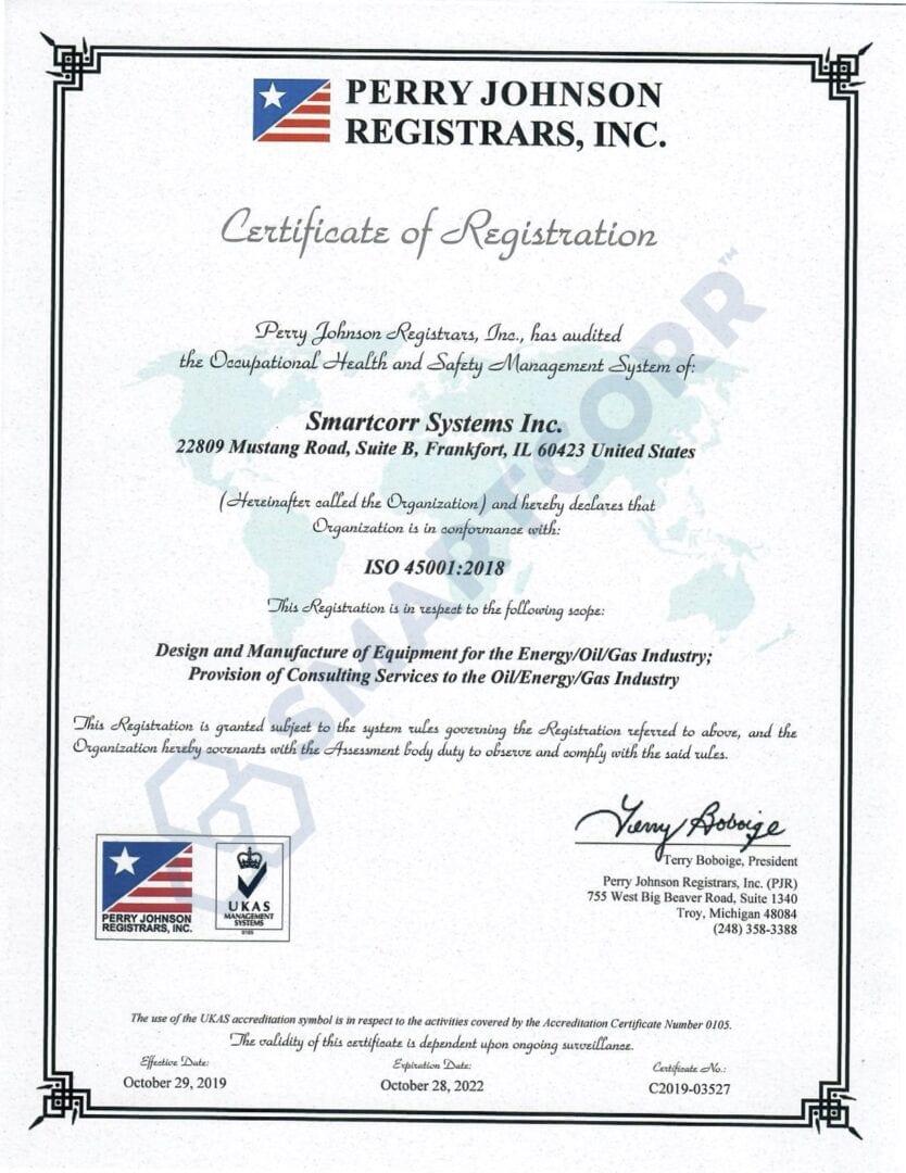Smartcorr-iso45001-certificate